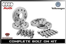 4 Pc 5x112 Audi 15 MM Hub Centric Wheel Spacers W/ 14x1.5 Ball Seat Lug Bolts