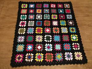 "Granny Square Lap Blanket~Black Trim~36"" x 33"""