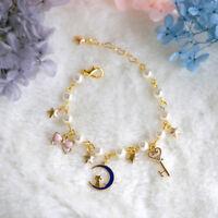 Fashion Sailor Moon 20th Anniversary Pearl Lolita Star Bracelet Gold Cos Gift