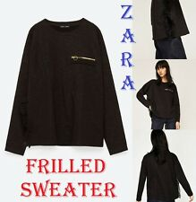 ZARA New (RT$49) Black Sweatshirt Zip Pocket High Slit Ending with Frills Size M