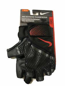 Nike Destroyer Weight Training Lifting Gloves, Black & Crimson Size Medium