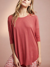 ANTHROPOLOGIE FLOREAT STRIPED RED PINK 3/4 SLEEVE OVERSIZED KNIT TUNIC TEE Sz M