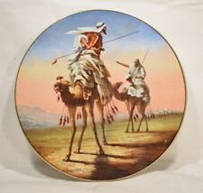 """c1900 15"""" Hand painted Charger Arabs on Camels"""
