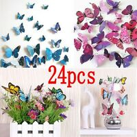 24pcs Art Decal Home Room Wall Stickers 3D Butterfly Sticker Decorations Decor