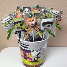 "75 x (6"" Lollipop Stick + Bag + 3 Colors Ribbon Bow) for cake pops in Halloween"