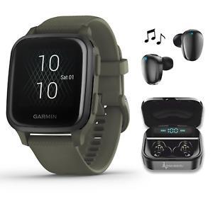 Garmin Venu Sq Music GPS Fitness Smartwatch Moss/Slate with Black Earbuds