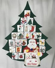 Vintage Xmas Tree Advent Calendar Hanging Fabric Pockets Santa Countdown Quilted