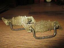 vintage ORNATE BRASS DRAWER PULLS DROP HARDWARE EASTLAKE HANDLES lot 2 antique