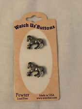 New listing Pewter Metal Horse Buttons set of 2 Lead Free Usa Made Equestrians Pony Stallion