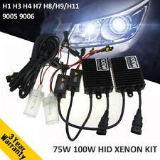 75W 100W Car HID Xenon Headlight Bulb Ballast Kit H1 H3 H4 H7 H8/9/11 9005 9006