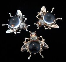 Vtg TRIFARI Jelly Belly CLEAR Lucite Sterling SET OF 3 FLIES Figural Pins