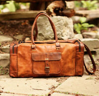 Men Brown Genuine Bull Leather Travel Luggage Duffle Gym Overnight Bag  S to Xl