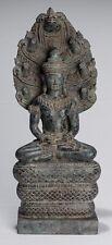 More details for antique khmer style bronze seated meditation naga buddha statue - 46cm/18