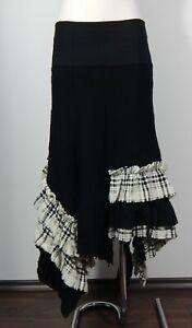 Ivan Grundahl wool angora blend black and white ruffle asymmetric skirt size 38