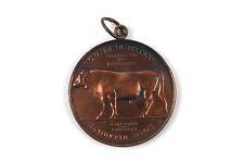 "Belgian bronze medal ""AGRICULTURE AWARD"" Cow c1910 J.Dillens"