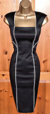 COAST SMART BLACK FITTED PENCIL WIGGLE DRESS UK 12 OFFICE BUSINESS FORMAL