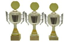 Moderne Pokale 3er Serie 400-a ECHT CHROM/Go (H=29-27 cm) inkl.Emblem & Gravur