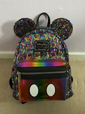 Disney Store Parks Rainbow Loungefly Sequin Mickey Backpack