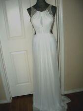 Terani Couture Jeweled Cutout Back Chiffon Mermaid Gown White $398 `Size 6`