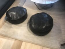 Matching Pair (2) Turkish Leather Ottoman Pouffe Pouf Footstool In Black