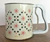 Vintage 1950's Androck Decorative Flour Sifter 3 Screen Single Hand Red Black