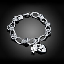 Classic 925 Sterling Silver Filled SF Heart Charm Pendant  Bracelet BL-A305