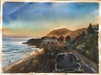 "Watercolor Original Painting Unique 11"" x 15"" Pacific Coast, Malibu CA"