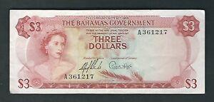 Bahamas - Three (3) Dollars  1965