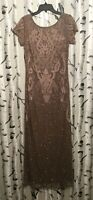 Pisarro Nights Embroidered Mesh Gown: Size 4: Mocha (33)