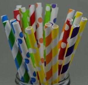 50 x Paper straws party rainbow birthday wedding stripe UK stock