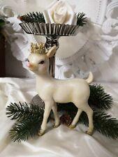 Reh Bambi Krone Deko Figur Weihnachten Christmas Shabby Vintage Landhaus 11x17cm