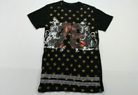 Black Brand Large Graphic Long T-Shirt with Zipper Black with Gold Stars Mens