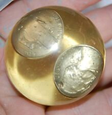 Vintage 1964 Nickle Inside Lucite Paperweight Hand Crafted Jr Achievment