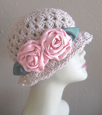 Beige Jute Brown Rose Pink Cotton Cloche 1920s Flapper Hat Flower