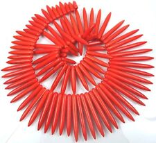"20-48mm Orange Turquoise Graduated Spike Stick Beads 18"""