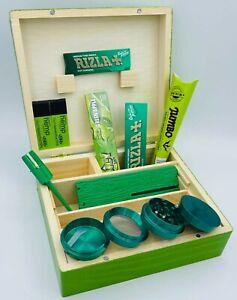 Green Wooden Rolling Box Rizla Paper Roach Dank Plank NO1 Metal Grinder Cone Set