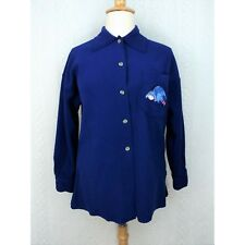 Disney Womens Fleece Jacket Size Medium Embroidered Eeyore Blue Scalloped Button
