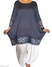Taillenlange 3/4 Arm Damenblusen, - tops & -shirts ohne Kragen-Blusen