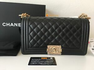 CHANEL Black Classic/ Old Medium Boy Quilted Leather w/ Gold HDW Crossbody