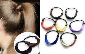 2 x Imitation Bun Hair Bobble Scrunchie Fake Straight Natural Hair Ponytail Gift
