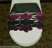 New European Style High-grade Purple Flower Printed Resin Bathroom Toilet Seat