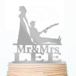 Personalized Fishing Wedding Cake Topper Gold Silver Rustic Cakes Decorating