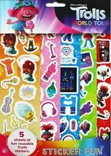DreamWorks Trolls World Tour Sticker Fun. 5 Sheets Reusable Stickers Boys Girls