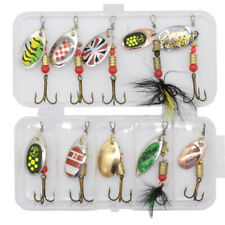 10Pcs Fishing Lures Spinnerbaits Bass Trout Salmon Hard Metal Spinner Baits Set