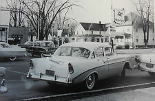 "12 By 18"" Black & White Picture 1956 Chevrolet Bel Air 4 door Mobilgas"
