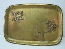 Old Brass Leaves design dresser top trinket change tray ornate swirl embossed