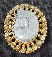 18 carat solid gold & blue lava stone vintage Victorian antique cameo brooch