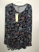 Bai Sheng GT XL Tunic Paisley Long Sleeve Knit Top NWT Womans