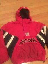 Wisconsin Badgers Starter Puffy Jacket Huge Logo Pullover Size L large