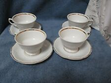 ROYAL KENT  Poland RKT 17 Cup and Saucer 4 Sets  Embossed Gold Trim Quite Nice